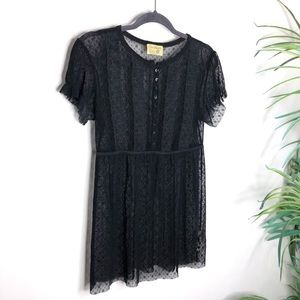 Free People Sheer Black Short Sleeve Lace Blouse